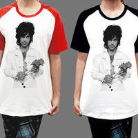 Unisex - Prince Rogers Nelson w Flower Men Women Short Sleeve Baseball Shirt Tshirt Jersey