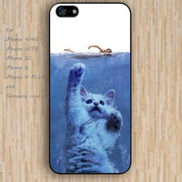 iPhone 5s 6 case colorful cat swimming phone case iphone case,ipod case,samsung galaxy case available plastic rubber case waterproof B286