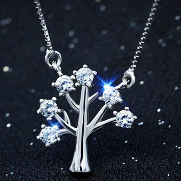 Womens 925 Sterling Silver Tree Pendant Necklace Girls Superior Quality Christmas Necklace Gift 93