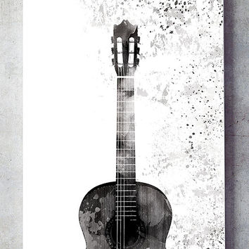 Guitar art print, modern wall decor, black and white wall art, contemporary art print, home decor print, monochrome art, wall art printable