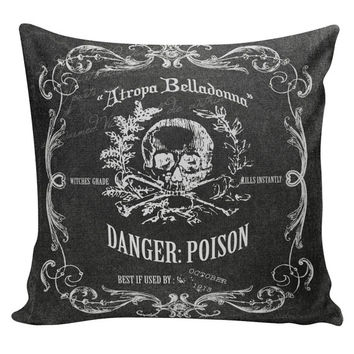 Halloween Decor Cushion Pillow Skeleton Poison Label Chalkboard Cotton and Burlap RQ-71 RavenQuoth All Hallow's Eve Home Decor
