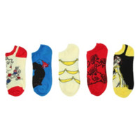 Disney Beauty And The Beast No-Show Socks 5 Pair