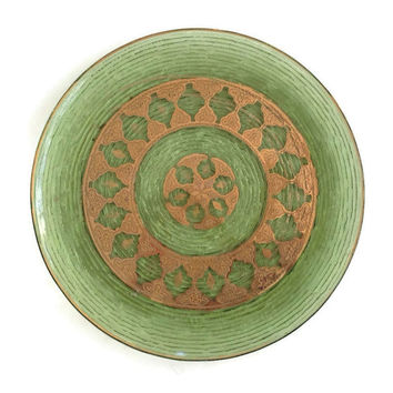 Vintage Soreno Glass Platter-Avocado Green-Anchor Hocking-Gold Paint Geometric Design-1960's-Pressed Bark-Mid Century-Large Round Plate