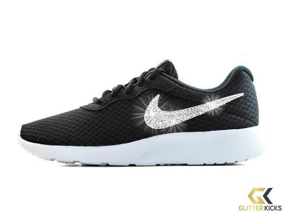 Nike Tanjun + Crystals - Black White from Glitter Kicks 3a0b46a03