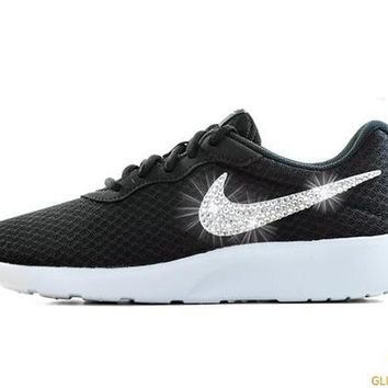 Nike Tanjun + Crystals - Black White from Glitter Kicks 86e7ca4abd11