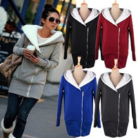 Korea Women Hoodie Jacket Coat Warm Outerwear Hooded Zip 3269 = 1645787844
