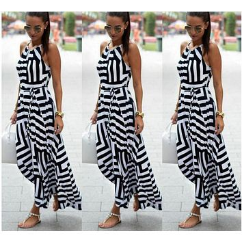 2017 Summer Female Stripes Irregular European And American Geometric Harness Printing Dress Size S-xl - Beauty Ticks
