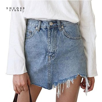 2017 New Summer Pencil Denim Skirt High Waist Washed Jeans Women Skirts Irregular Denim Skirts Mini Size Women Bodycon Skirt