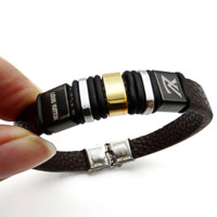 Real leather stainless steel bracelet with laser engraved bracelet