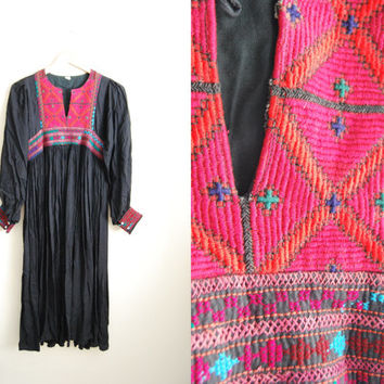 Vintage 70s Black Boho Hippie Festival Dress Cotton Gauze Tribal