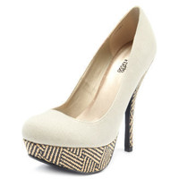 Charlotte Russe - Canvas Tribal-Raffia Pump
