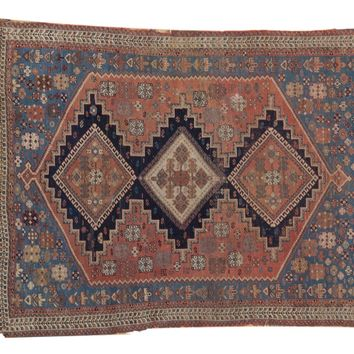 4x5 Antique Fine Afshar Square Rug