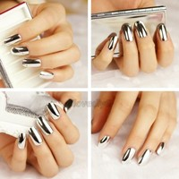 16pcs Silver Gold Or Black Beauty Nail Art Patch Foils Tips Wraps Minx For Women