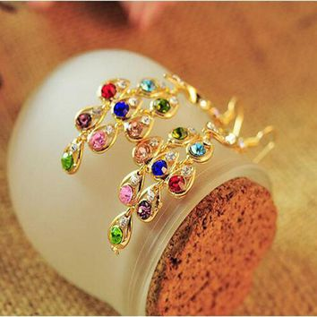 Earrings -PFS- New Arrival Female Bohemia Style Vintage Colorful Women  Crystal Peacock Costume Jewelery Earring #1796183