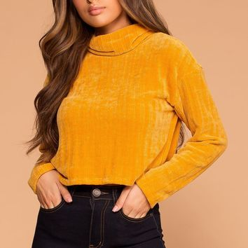 Grace Mustard Knit Crop Turtleneck Sweater