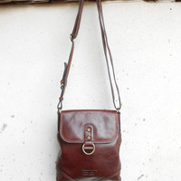 Vintage GIANNI CONTI Chestnut Brown Leather Purse , Crossbody Bag / Small