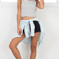 Casual Plain Crop Top B005754