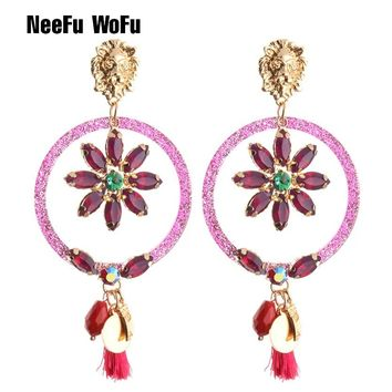 NeeFu WoFu Drop Resin Earrings Brand Crystal Big Earring Lion Head Tassel Earring for woman Large Brinco Ear Oorbellen Gift
