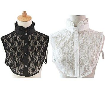 Flyou 2Pcs Lady Shirt False Collar Lace Half Shirt Detachable False Faux Collar Cuff Cotton Choker Tie