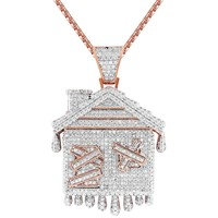 Men's Dripping Trap House Rose Gold Finish Pendant Tennis Chain