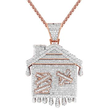 Men's Dripping Rose Gold Tone Trap House Silver Pendant Chain