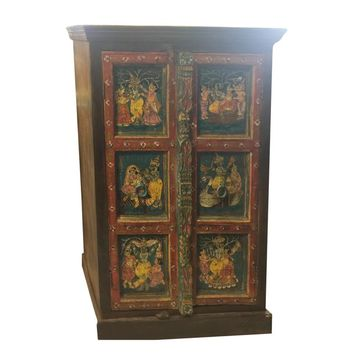 1920s Art Deco Hand-Painted Armoire Cabinet Chest