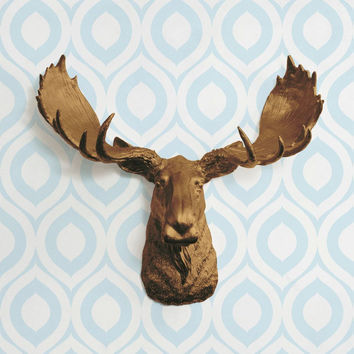 The Alberta Large Bronze Faux Taxidermy Resin Moose Head Wall Mount | Bronze Moose w/ Colored Antlers