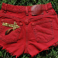 Garnet and Gold College Football Gameday High Waisted Jean Shorts (FSU)