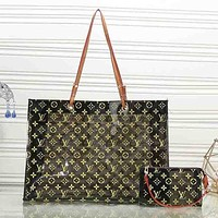 LV Louis Vuitton Trending Women Leather Shoulder Bag Satchel Tote Handbag Crossbody Two Piece Set Black I-KR-PJ