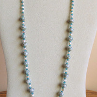 Lampwork Bead Necklace with Freshwater Pearls, Blue Glass Beads, Sterling Silver Clasp, Statteam