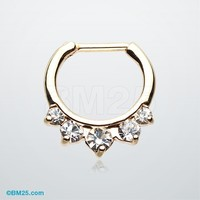 Golden Glistening Precia Multi-Gem Septum Clicker