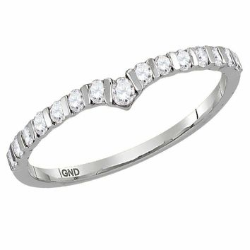 10kt White Gold Women's Round Diamond Chevron Stackable Band Ring 1/4 Cttw - FREE Shipping (US/CAN)