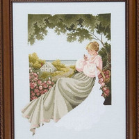 Sale Special Nantucket Rose - A Framed Victorian Lady Cross Stitch Picture - Can/US Free Shipping