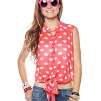 Papaya Clothing Online :: HEART PATTERNED TIE FRONT BLOUSE