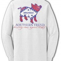 Arkansas Flag Pig Long Sleeve