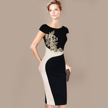 Womens Dress Elegant Vintage Contrast Slim Casual Work Party Pencil Sheath Embroidery Dress 215