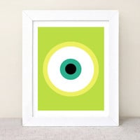 Mike Wazowski - Monsters Inc. - deconstructed illustrated Poster Print - green - 8x10