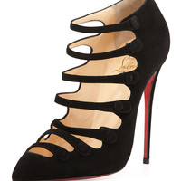 Christian Louboutin Viennana Strappy Suede Red Sole Bootie, Black