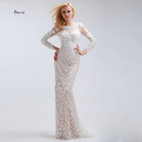 Fashion White Straight Sequined Long Sleeve Evening Dresses Scoop Neck With Tulle Fabric Floor Length Formal Prom Dresses