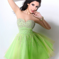 Sweetheart Sparkly Crystal Beaded Short Elegant Green Cocktail Dresses Backless Vestidos Cortos  Organza Crystal Vestido Coktail