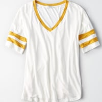 AE Striped Sleeve V-Neck T-Shirt, Cream