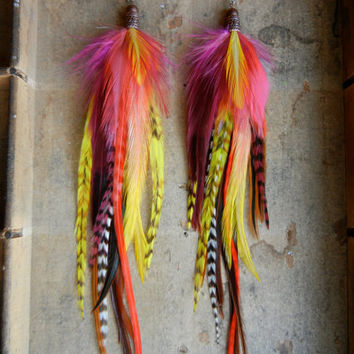 SALE: 20 Percent OFF the ENTIRE shop - Tropical Flower Extra Long Feather Earrings