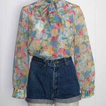 Vintage 1970s Chiffon Sheer Floral Ascot Button Down Shirt Top Blouse