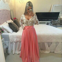 Long Sleeve O-neck Sexy Long Lace Prom Dress