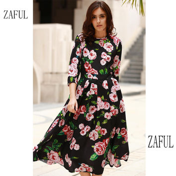 ZAFUL Women Summer Midi Dress Bohemian Scoop Neck Black White Rose Floral Print Midi Feminine vestidos Party Prom Sweet vintage