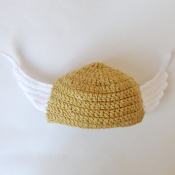 Golden Snitch Hat From Harry Potter Hat,  Beanie Newborn Child Teen  Adult - Halloween / Cosplay / Baby Shower Gift