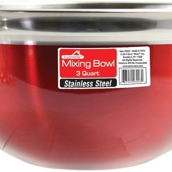 Red Stainless Steel Mixing Bowl - 3 Qt. - CASE OF 12