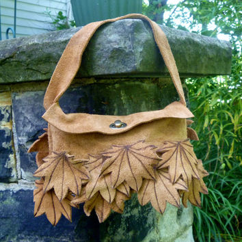 Purse - Suede with Maple Leaves