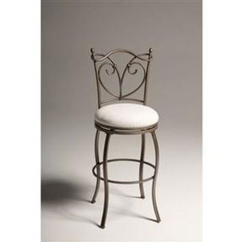 """Curved Wire Metal 30"""" Bar Stool with Soft Upholstered Swivel Seat"""