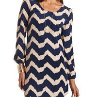 Chevron Print Shift Dress: Charlotte Russe